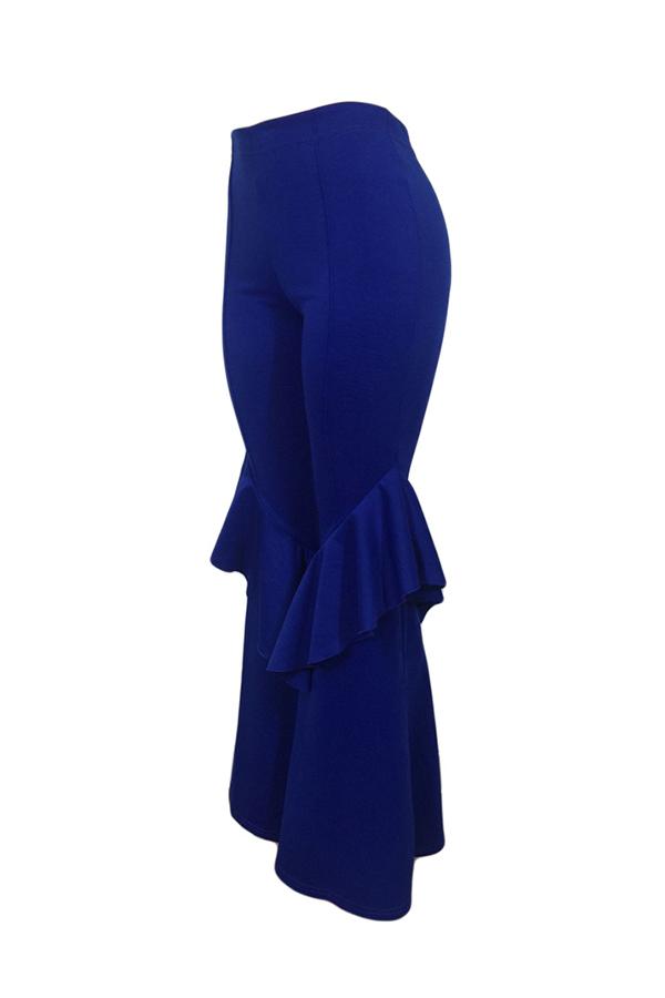 Lovely Trendy Mid Waist Falbala Zipper Design Blue Polyester Loose Pants
