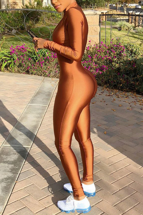LovelyTrendy V Neck Zipper Design Brown Polyester One-piece Jumpsuits