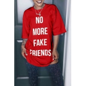 Lovely Casual Round Neck Letters Printed Red Polyester Mini Dress