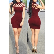 Lovely Sexy Round Neck Sleeveless Hollow-out Wine Red Milk Fiber Sheath Mini Dress