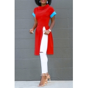 Lovely Fashion Round Neck Short Sleeves Side Slit Red Polyester T-shirt