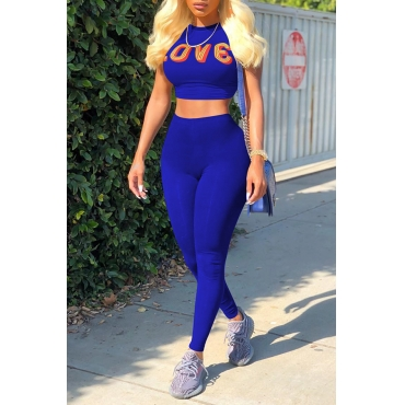 Lovely Casual Round Neck Short Sleeves Letters Printed Royalblue Cotton Blends Two-Piece Pants Set