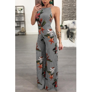 Lovely Sexy Spaghetti Strap Sleeveless Backless Floral Printed Black Polyester One-piece Jumpsuits