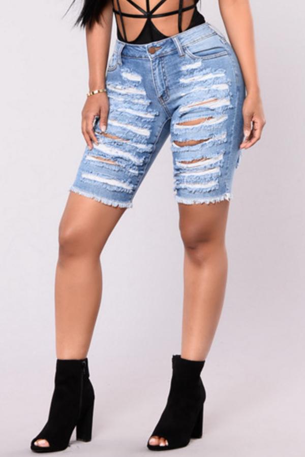 Lovely Fashion High Waist Broken Holes Baby Blue Denim Zipped Shorts