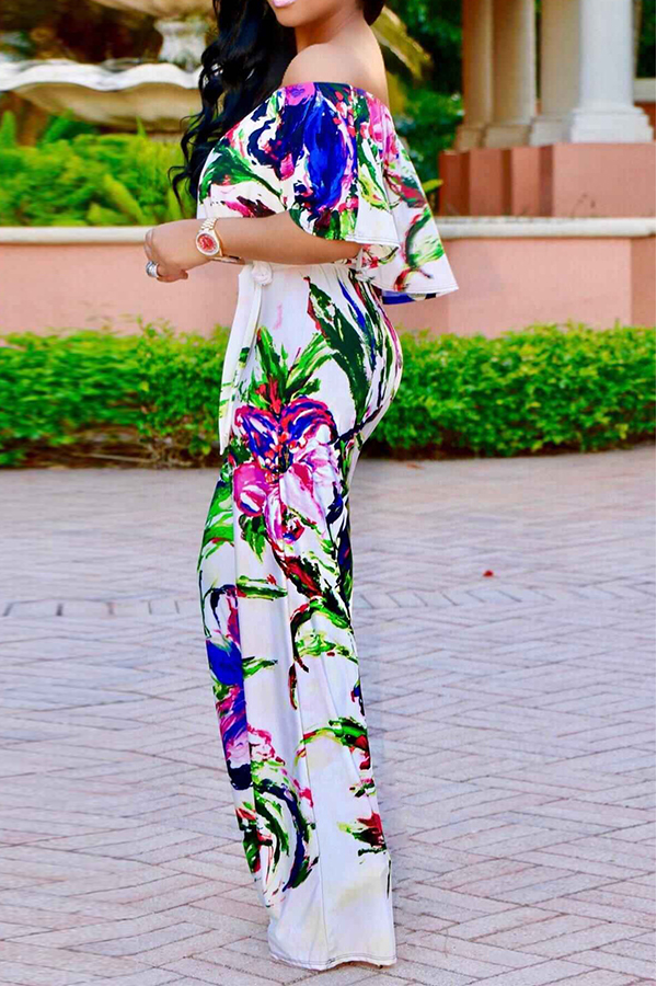 Lovely Trendy Bateau Neck Ruffle Floral Printed White Polyester One-piece Jumpsuits(With Belt)
