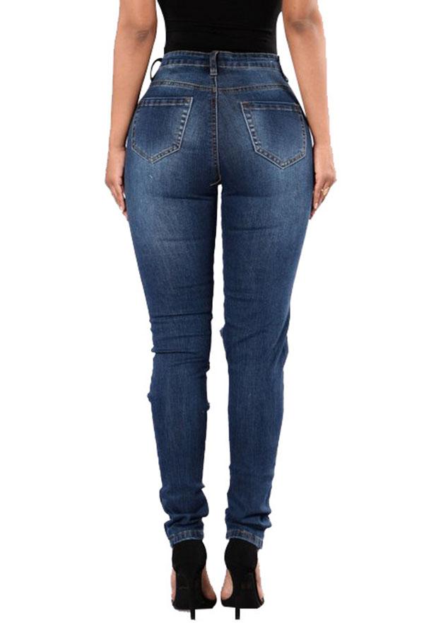 Moda Encantadora Cintura Media Agujeros Rotos Mezclilla Azul Profundo Jeans Con Cremallera