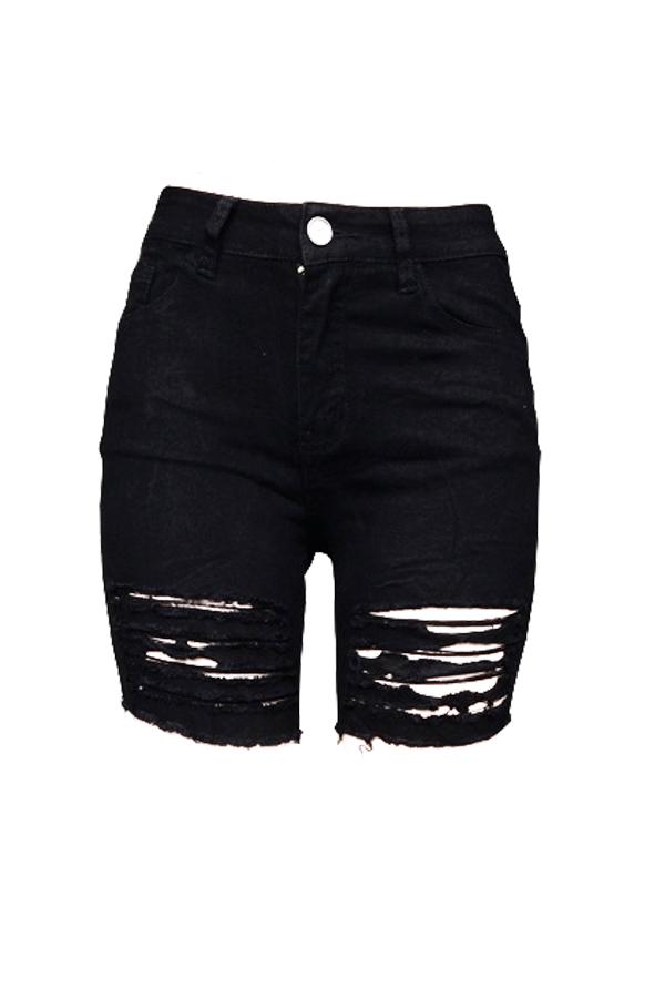 Moda Adorável Alta Cintura Quebrado Buracos Preto Denim Zipper Shorts