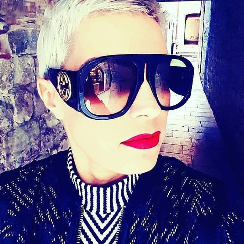 Schöne Mode Niet Dekorative Schwarze PC-Sonnenbrille