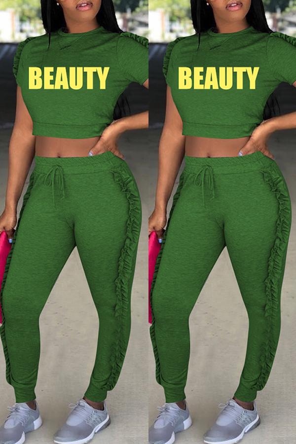 Encantador Conjunto De Pantalones De Dos Piezas De Poliéster Verde Redondo Y Redondo