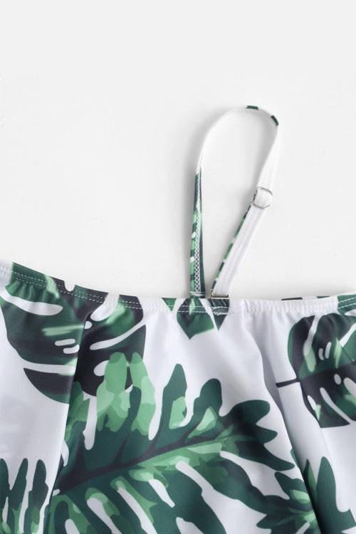 Симпатичный Сексуальный Блеск Шеи Bateau, Напечатанный Зелеными Спандексами Цельные Купальники