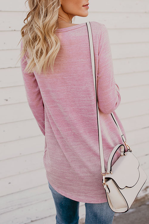 Lovely Casual Round Neck Letters Printed Pink Cotton T-shirt