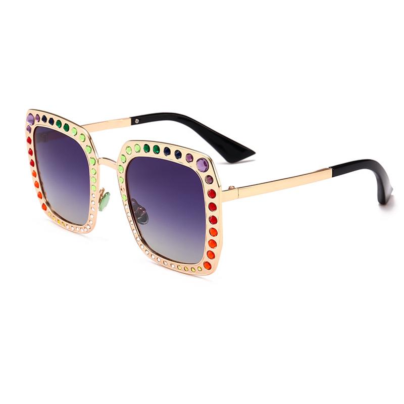 Precioso Chic Diamante Decorativo Oro Cuadrado Marco PC Gafas De Sol