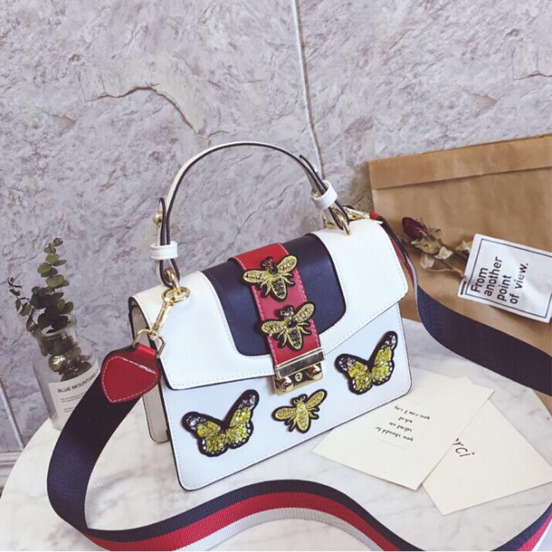Bolso De Embragues De PU De Diseño Decorativo De Mariposa Elegante Encantador Blanco