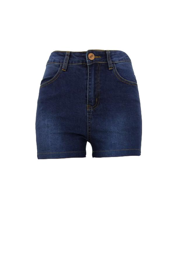 Moda Linda Cintura Alta Cintura Azul Escuro Denim Shorts