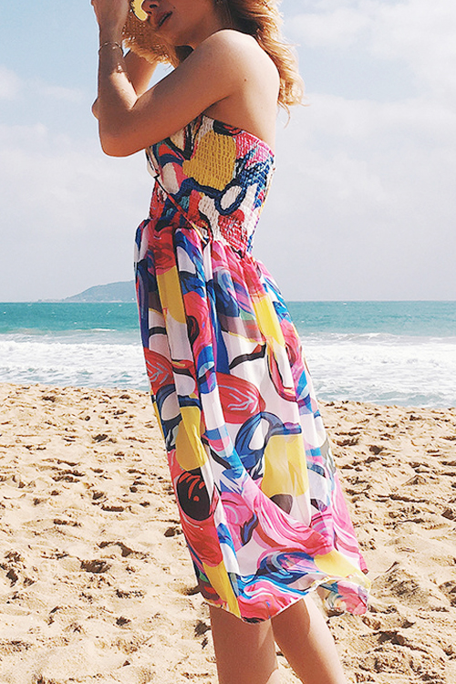 Lovely Casual Bateau Neck Backless Printing Chiffon Knee Length Dress