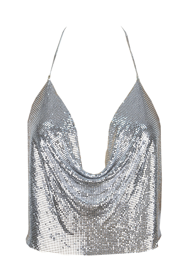 Lovely Sexy V Neck Backless Sequins Decoration Silver Polyester Tank Top(Without Accessories)