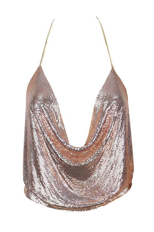 Lovely Sexy V Neck Backless Sequins Decoration Rose Gold Polyester Tank Top(Without Accessories)