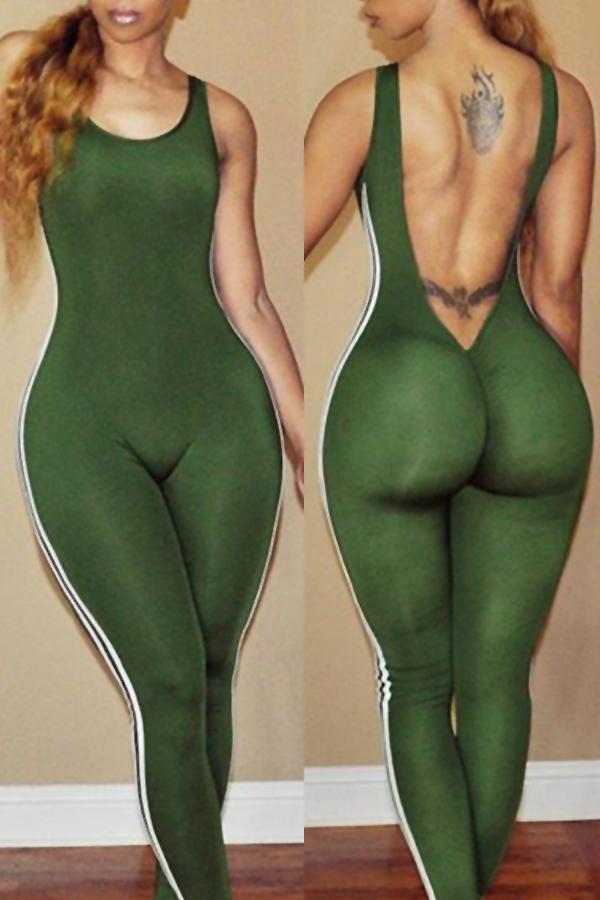 Graziose Tute Monopezzo In Poliestere Verde A Righe Scoperte A Girocollo Sexy