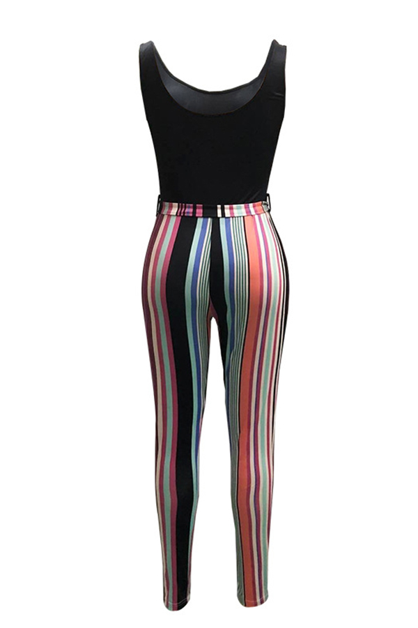 Симпатичный Модный U Шеи Печать Розовый Хлопок Смеси Цельные Комбинезоны (с Поясом)
