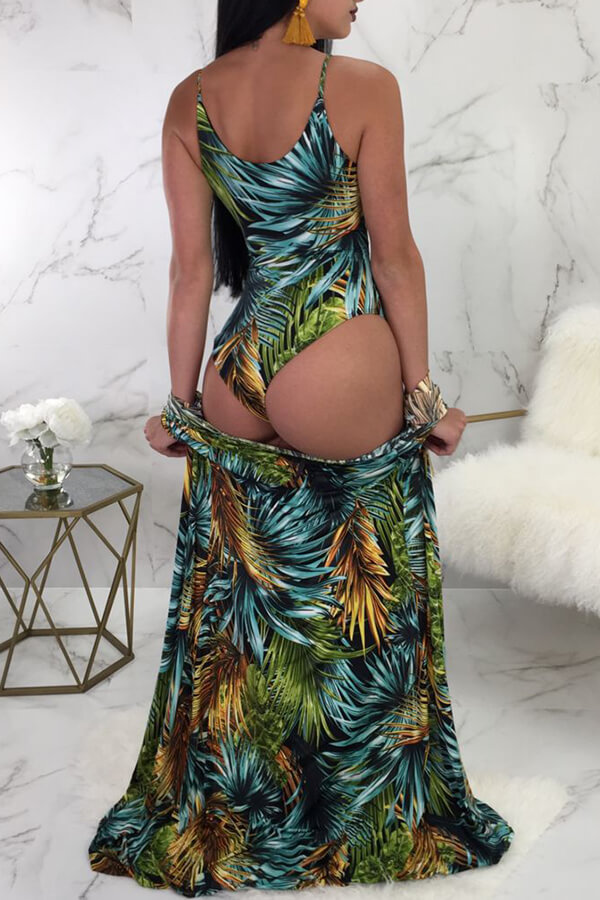LovelySexy Lace-up Leaf Printed Green Polyester One-piece Swimwears(With Cover-up)