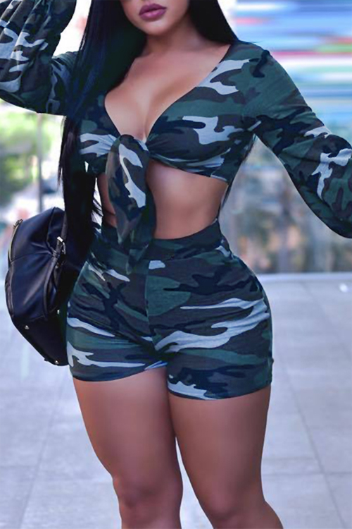 Lovely Fashion V Neck Long Sleeves Knot Camo Blending Two-piece Shorts Set
