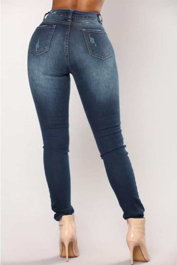 Encantadora Moda Mediados De Cintura Azul Oscuro Denim Jeans Con Cremallera