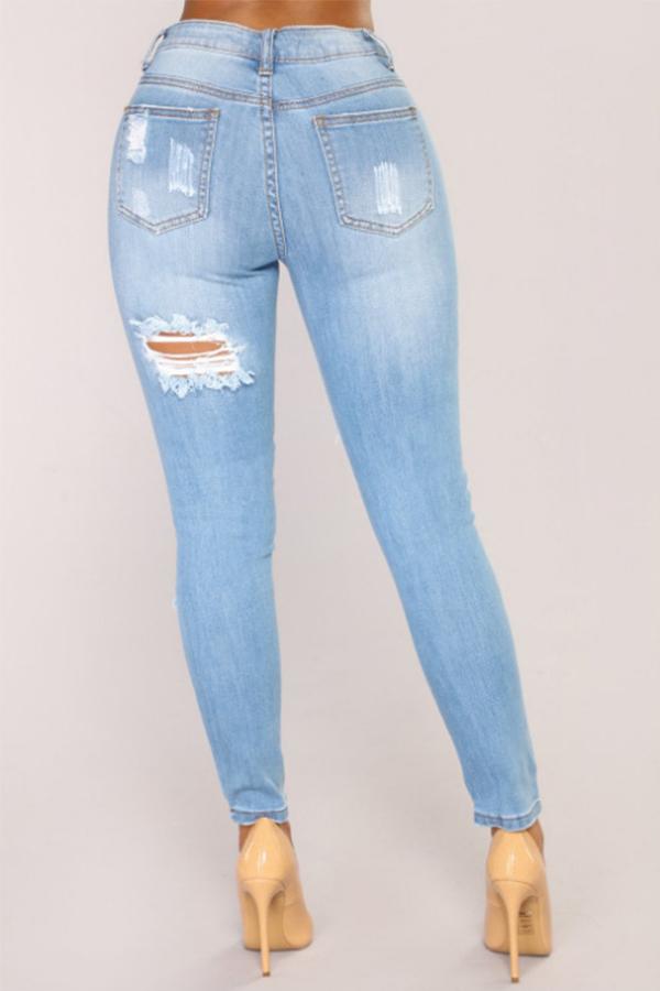 Moda Encantadora Cintura Media Agujeros Rotos Mezclilla Azul Jeans Con Cremallera