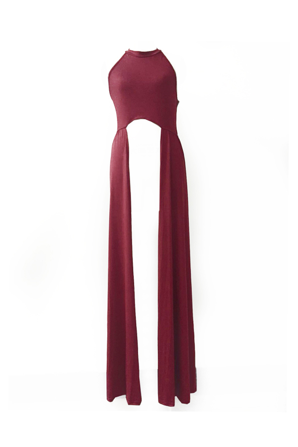 LovelySexy Round Neck Sleeveless Backless Hollow-out Wine Red Qmilch T-shirt