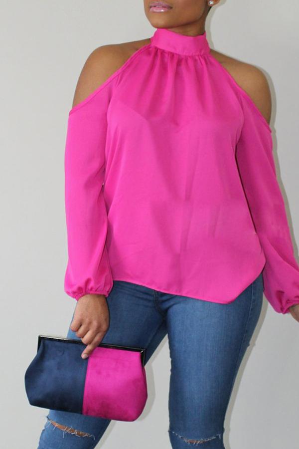 Lovely Fashion Mandarin Collar Cold-shoulder Pink Polyester Shirts