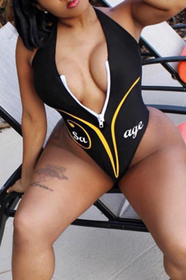 Hermosa Sexy Cuello En V Carta Impresa Con Cremallera Diseño Poliéster Negro Traje De Baño De Una Sola Pieza