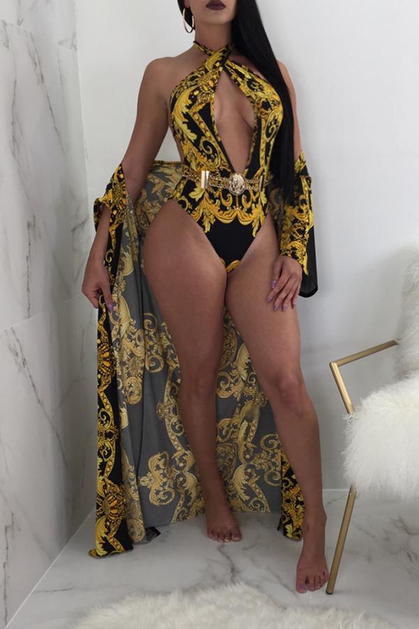 Trajes De Baño De Una Sola Pieza De Poliéster Negro Con Impresión De Cuello En V Sexy (con Encubrimientos)