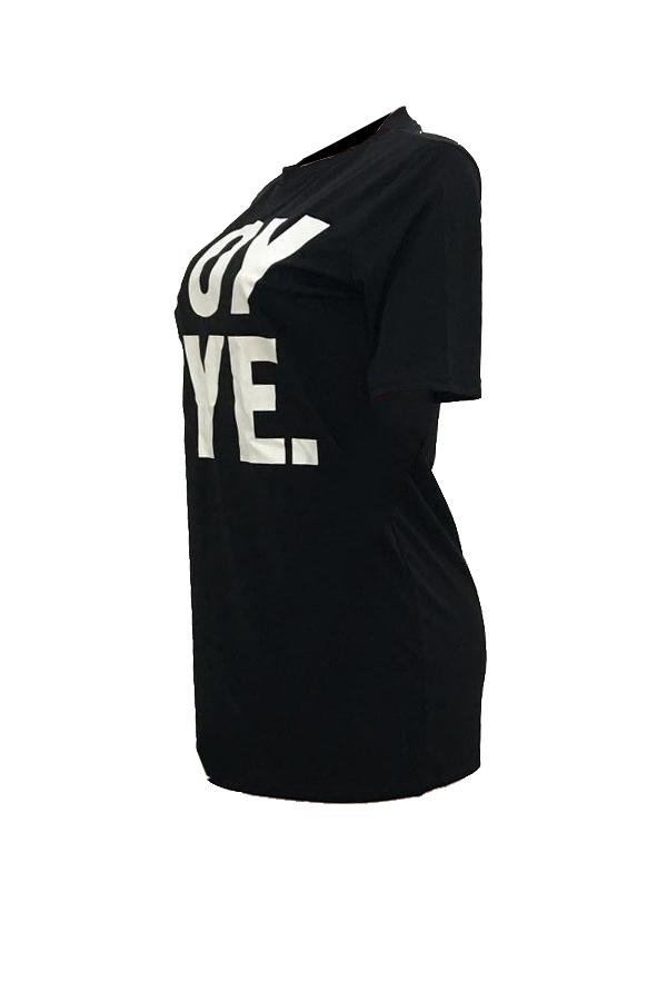 Lovely Casual Round Neck Short Sleeves Letters Printed Black Fiber Mini Dress