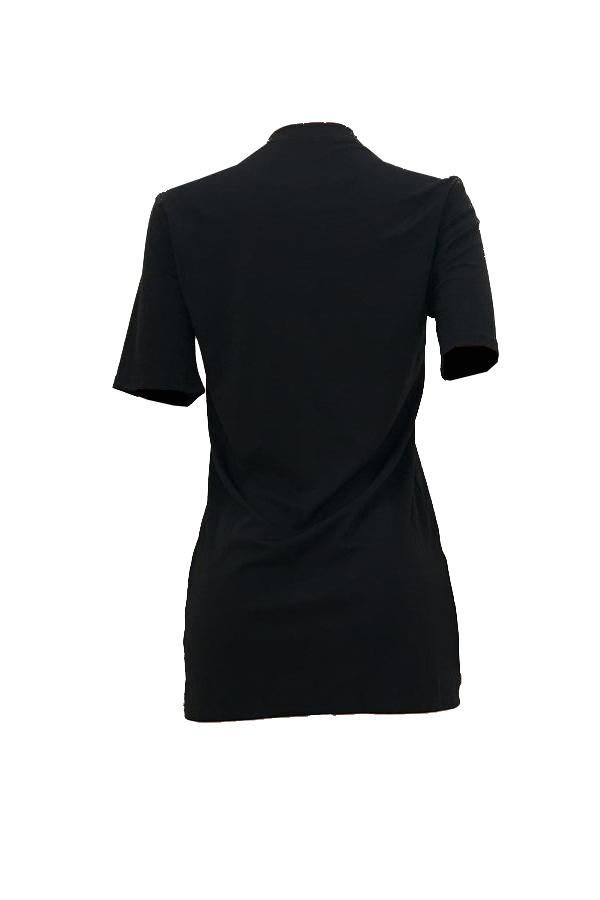 Encantador Ocasional Cuello Redondo Manga Corta Letras Impreso Mini Vestido De Fibra Negro