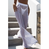 Encantador Sexy Alta Cintura Elástica Malla Ahueca Hacia Fuera Los Pantalones De Poliéster Blanco (sin Calzoncillos)