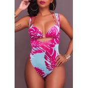 Adorável Boêmia Sem Suporte De Impressão Lace-up Rosa Poliéster Vermelho De Duas Peças Swimwears