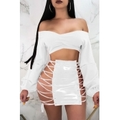 Lovely Sexy Lace-up Hollow-out White Leather Sheath Mini Skirt