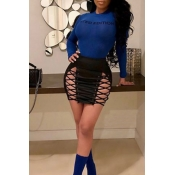 Lovely Chic Lace-up Hollow-out Black Leather Sheath Mini Skirts