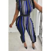 LovelySexy Round Neck Ruffle Striped Patchwork Dark Blue Polyester One-piece Jumpsuits