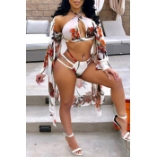 Lovely Sexy Hollow-out Floral Printed White Polyester Two-piece Swimwears(With Cover-up)