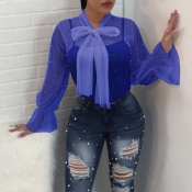 Encantadora Moda Turtleneck See-through Pregueado Pérola Gravata Camisas De Poliéster Azul (sem Sub-revestimento)