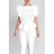 Lovely Pretty Round Neck Short Sleeves Flounce Whi