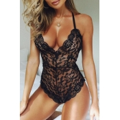 Lovely Sexy V Neck See-Through Black Lace Teddies