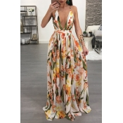 Lovely Sexy V Neck Printed Yellow Chiffon Floor le