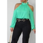 Lovely Fashion Mandarin Collar Cold-shoulder Green Polyester Shirts