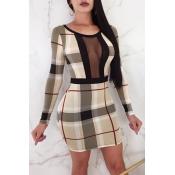 Lovely Fashion Round Neck Net Yarn Splicing Plaid Printed Khaki Polyester Mini Dress