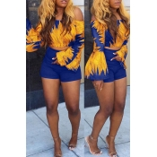 Lovely Trendy Bateau Neck Flared Sleeves Printing Blue Polyester Two-piece Shorts Set