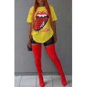 Schönes Freizeit-Rundhalsausschnitt Kurzen Ärmeln Gedruckt Gelben Baumwoll-T-Shirt
