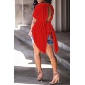 Camisas De Algodón Rojas Del Lazo Del Diseño Irregular Precioso Del Cuello Redondo De Moda