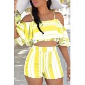 Lovely Sexy Spaghetti Strap Sleeveless Striped Yellow Polyester Two-piece Shorts Set