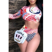 Lovely Fashion Round Neck Long Sleeves Printing Red Polyester Two-piece Swimwears